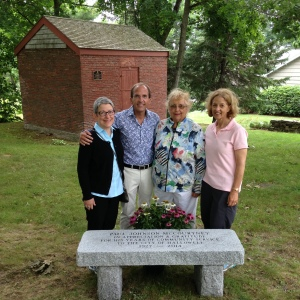 Kathy, Perry, Mom and Me in front of Paul's bench.