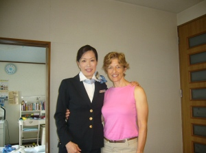 Michiko used to be a flight attendant for JAL. This was us in 2009.